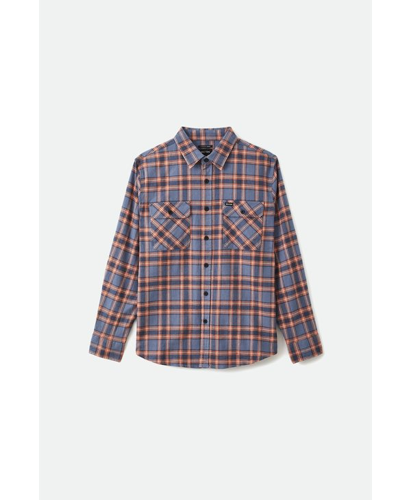 Bowery Stretch L/S Crossover Flannel - Slate Blue