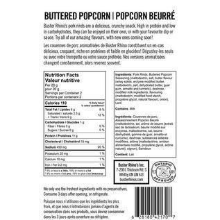 Buster Rhinos Pork Rinds Buttered Popcorn