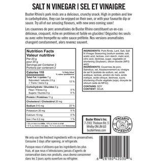 Buster Rhinos Pork Rinds Salt n Vinegar