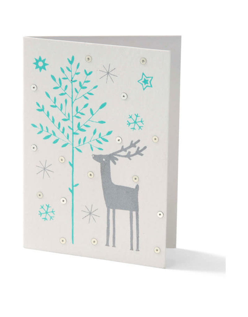 Saidpur Enterprises Blue Reindeer Holiday Card
