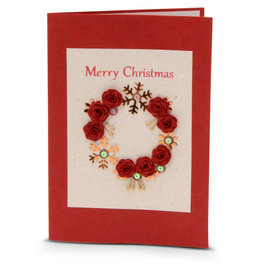 Salay Handmade Paper Industries Inc. Christmas Wreath Holiday Card
