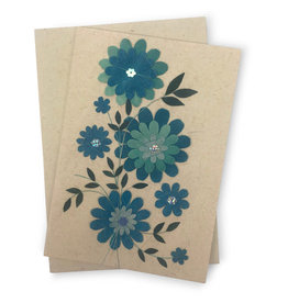 Salay Handmade Paper Industries Inc. Blue Daisy Greeting Card