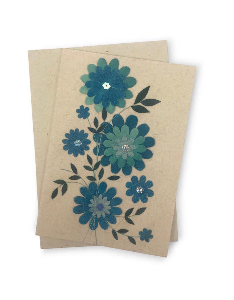 Salay Handmade Paper Industries Inc. Blue Daisy Greeting Card