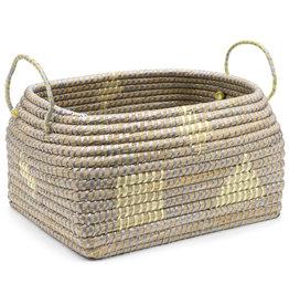 Dhaka Handicrafts Yellow Block Kaisa Grass Basket (L)