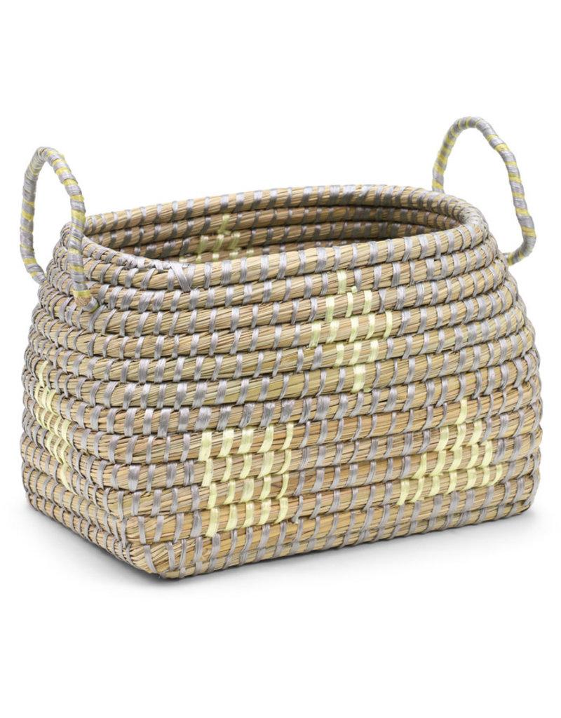 Dhaka Handicrafts Yellow Block Kaisa Grass Basket (S)