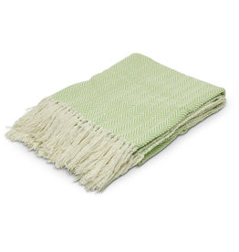 Asha Handicrafts Green Chevron Throw