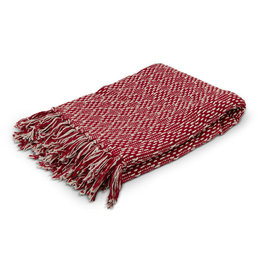 Asha Handicrafts Red Jacquard Throw