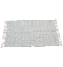 Sasha Association for Crafts Producers Beige & Blue Woven Dhurrie