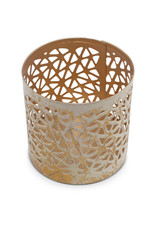 Sasha Association for Crafts Producers Small Cream and Gold Washed Candleholder