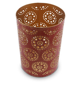 Sasha Association for Crafts Producers Large Red and Gold Washed Candleholder