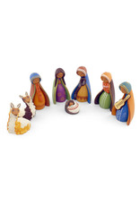 Manos Amigas Medium Ceramic Nativity with Two Llamas