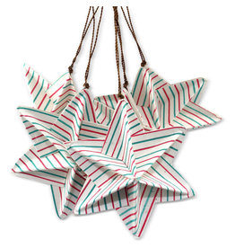 Prokritee Origami Striped Star Ornaments (set of 5)
