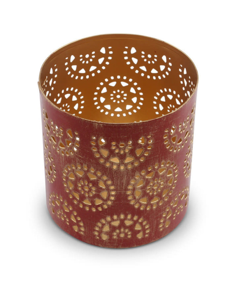 Sasha Association for Crafts Producers Small Red and Gold Washed Candleholder