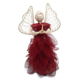 Community Crafts Association of the Philippines Red Abaca Sinamay Angel (Medium)