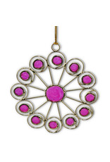 Saffy Handicrafts Pink and Gold Snowflake Ornament
