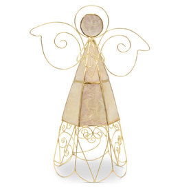 Saffy Handicrafts Gold Capiz Angel Treetopper