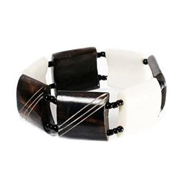 Maisha Bone Bracelet - Brown & White Plain Squares