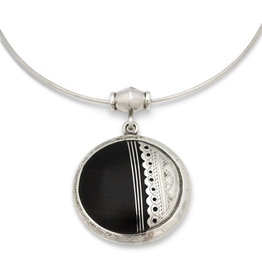 Union of Peasants for Self Development Silver Collar Ebony Pendant Necklace