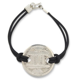 Union of Peasants for Self Development Leather Bracelet with Silver Disk (Black)