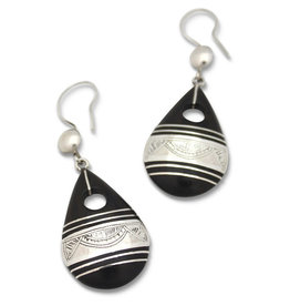 Union of Peasants for Self Development Silver Ebony Teardrop Earrings