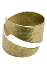 Bombolulu Workshop Hammered Brass Wrap Ring