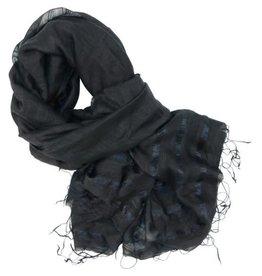 Craft Link Faint Stripes Black Silk Scarf