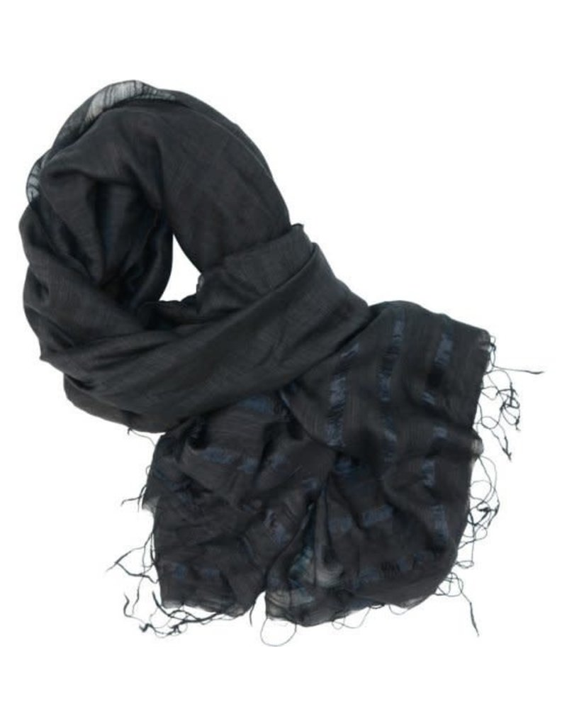 Craft Link Faint Stripes Black Silk Scarf