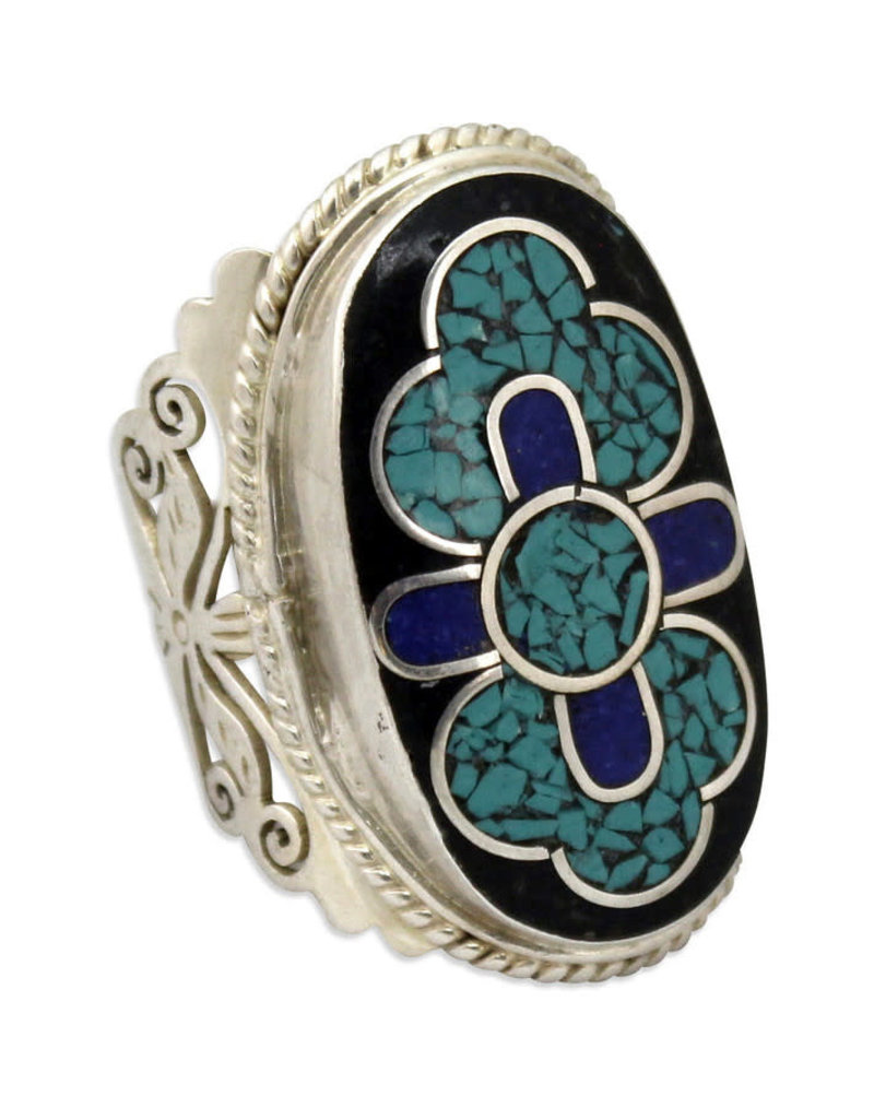 Sana Hastakala Turquoise and Silver Ring