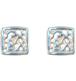 Allpa Square Filigree Stud Earrings