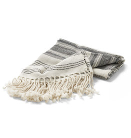 Allpa Black Stripes Fringed Alpaca Throw