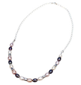 Allpa Pink and Grey Pearl Necklace