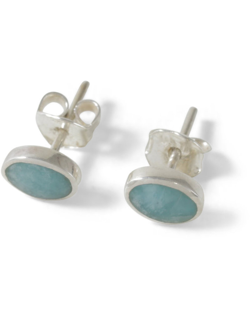 Manos Amigas Sterling Silver Amazonite Stud Earrings