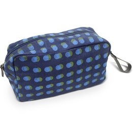 Prokritee Denim Toiletry Bag (Blue/Green Dots)