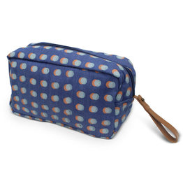 Prokritee Denim Toiletry Bag (Orange/Blue Dots)