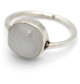 Asha Handicrafts Silver Brass Ring with Moonstone