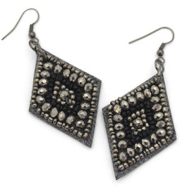 Asha Handicrafts Black Diamond Shaped Earrings