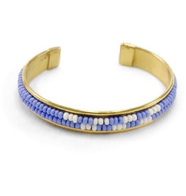 Asha Handicrafts Blue & White Beaded Cuff