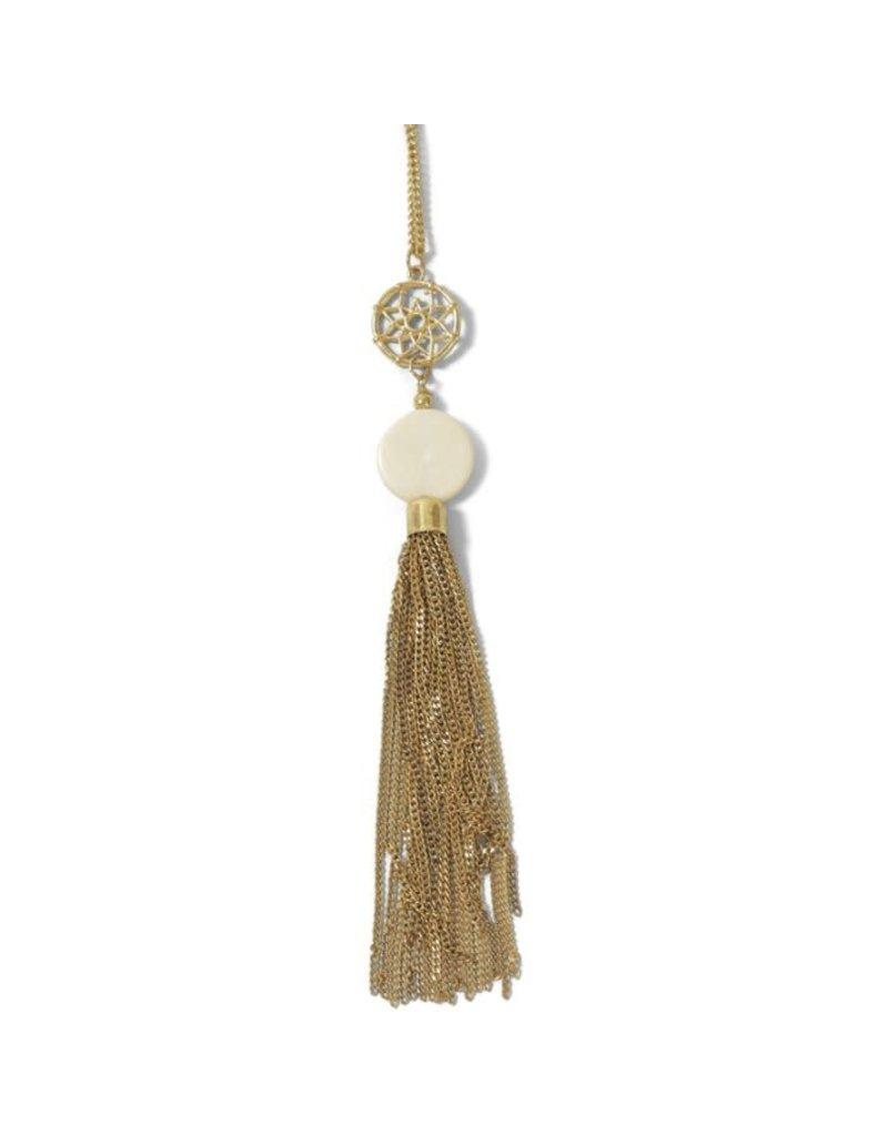 Asha Handicrafts Filigree & Bone Tassel Necklace