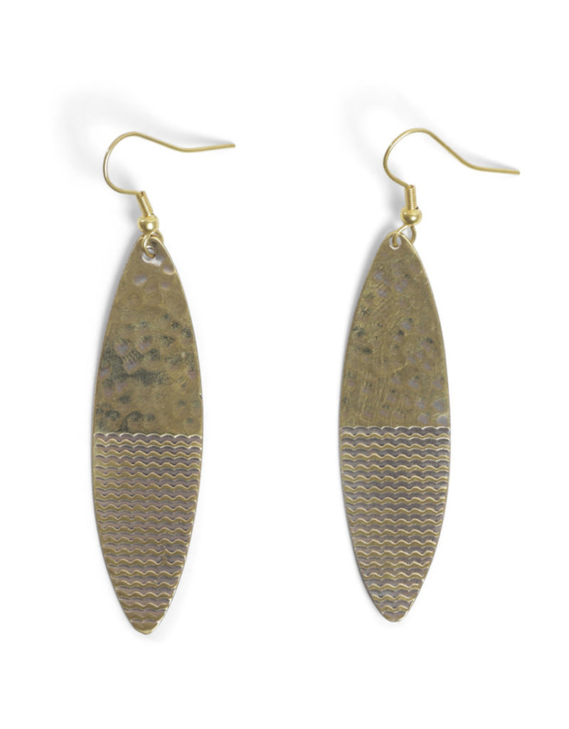 Asha Handicrafts Oval Hammered Brass Dangle Earrings
