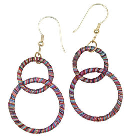 Sasha Association for Crafts Producers Rainbow Threaded Double-Hoop Earrings