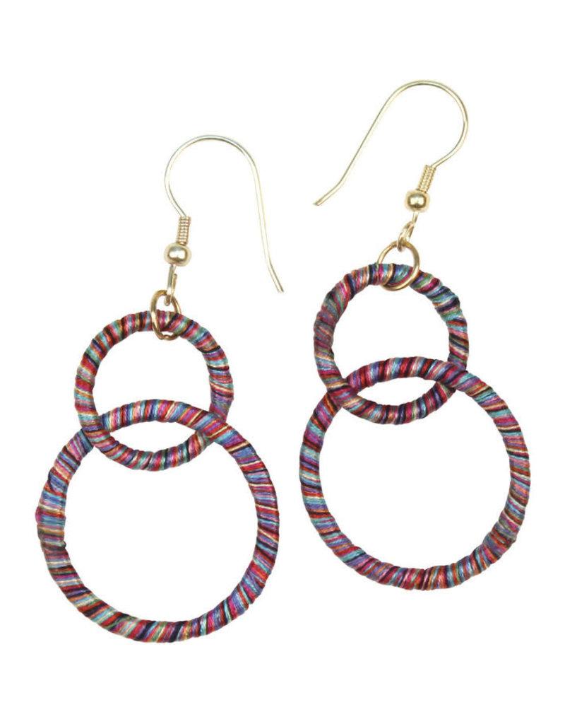 Sasha Association for Crafts Producers Rainbow Threaded Double-Hoop Earrings