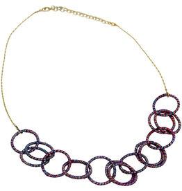 Sasha Association for Crafts Producers Rainbow Threaded Hoop Necklace