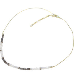 Sasha Association for Crafts Producers Single Strand Grey & White Beaded Necklace