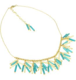 Sasha Association for Crafts Producers Brass & Teal Cylinder Dangle Necklace
