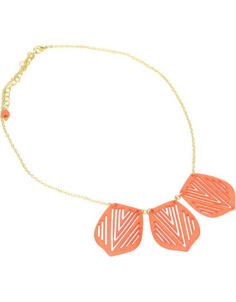 Sasha Association for Crafts Producers Leaf Shaped Bone Necklace - Orange