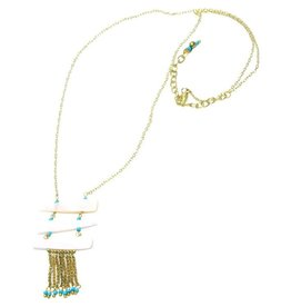 Sasha Association for Crafts Producers Brass & Teal Tassel Necklace