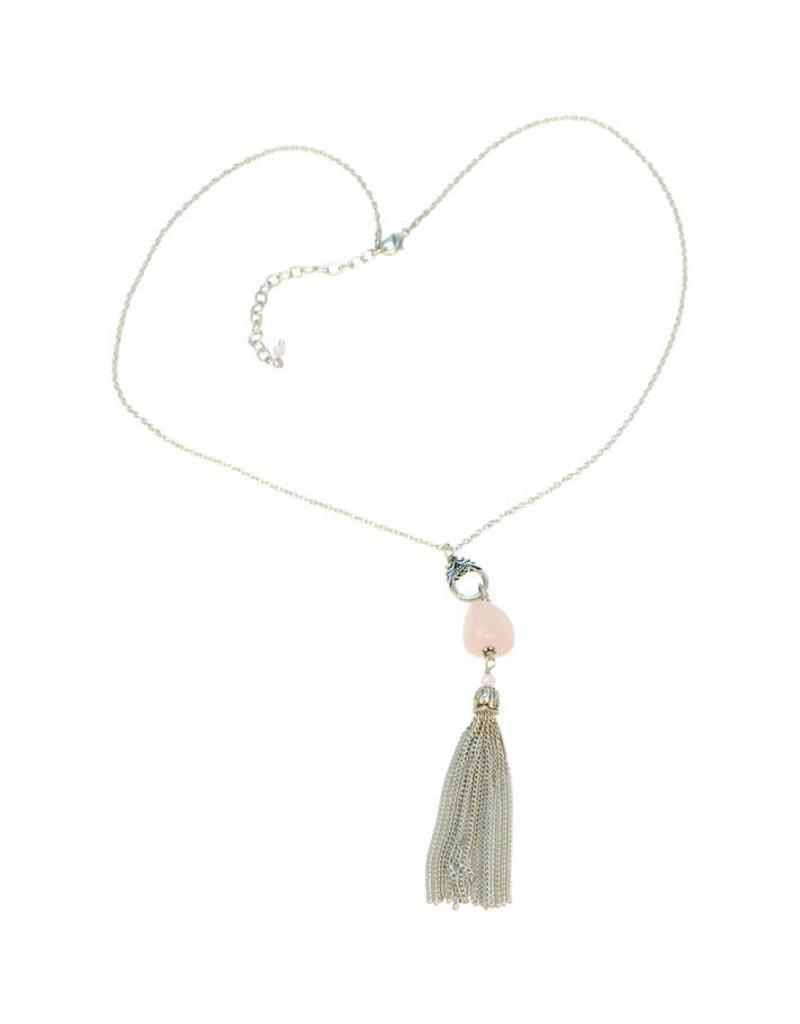 Sasha Association for Crafts Producers Pink Stone Tassel Necklace