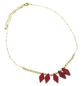 Sasha Association for Crafts Producers Ruby Bone and Brass Necklace