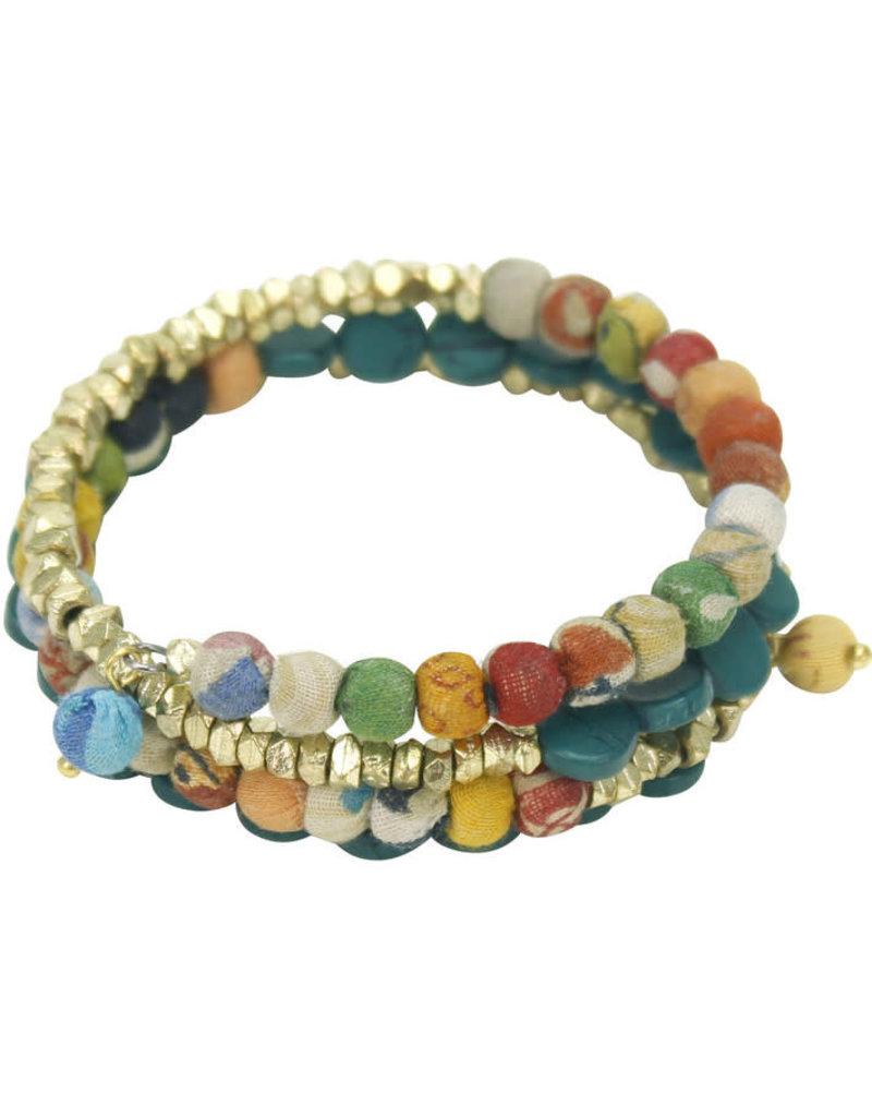 Sasha Association for Crafts Producers Wrapped Sari Bead Bracelet