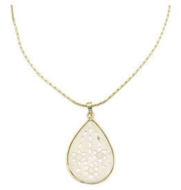 Sasha Association for Crafts Producers Teardrop Bone Pendant Necklace